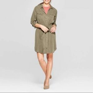 Olive green button up dress from Target